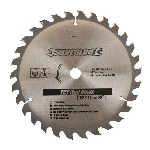 Silverline 633507 TCT Nail Circular Saw Blade 30 Teeth 190mm x 16mm